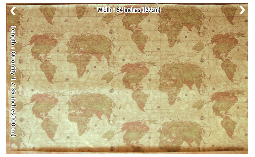 "RARE VINYL WORLD MAP KNIT BACK MARINE OUTDOOR UPHOLSTERY LUGGAGE FABRIC WP 54/""W"