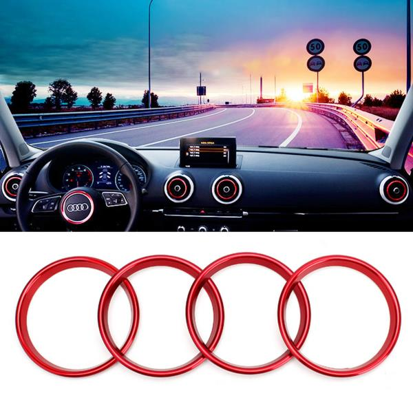 4pcs Car Auto AC Air Condition Vent Outlet Decoration Ring Cover Trim for Audi A3 8V NEW