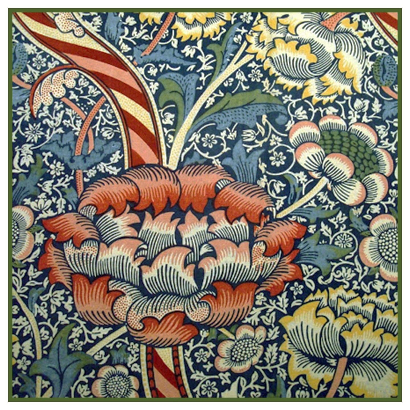 Arts and Crafts Snakeshead Blues by William Morris Counted Cross Stitch Pattern