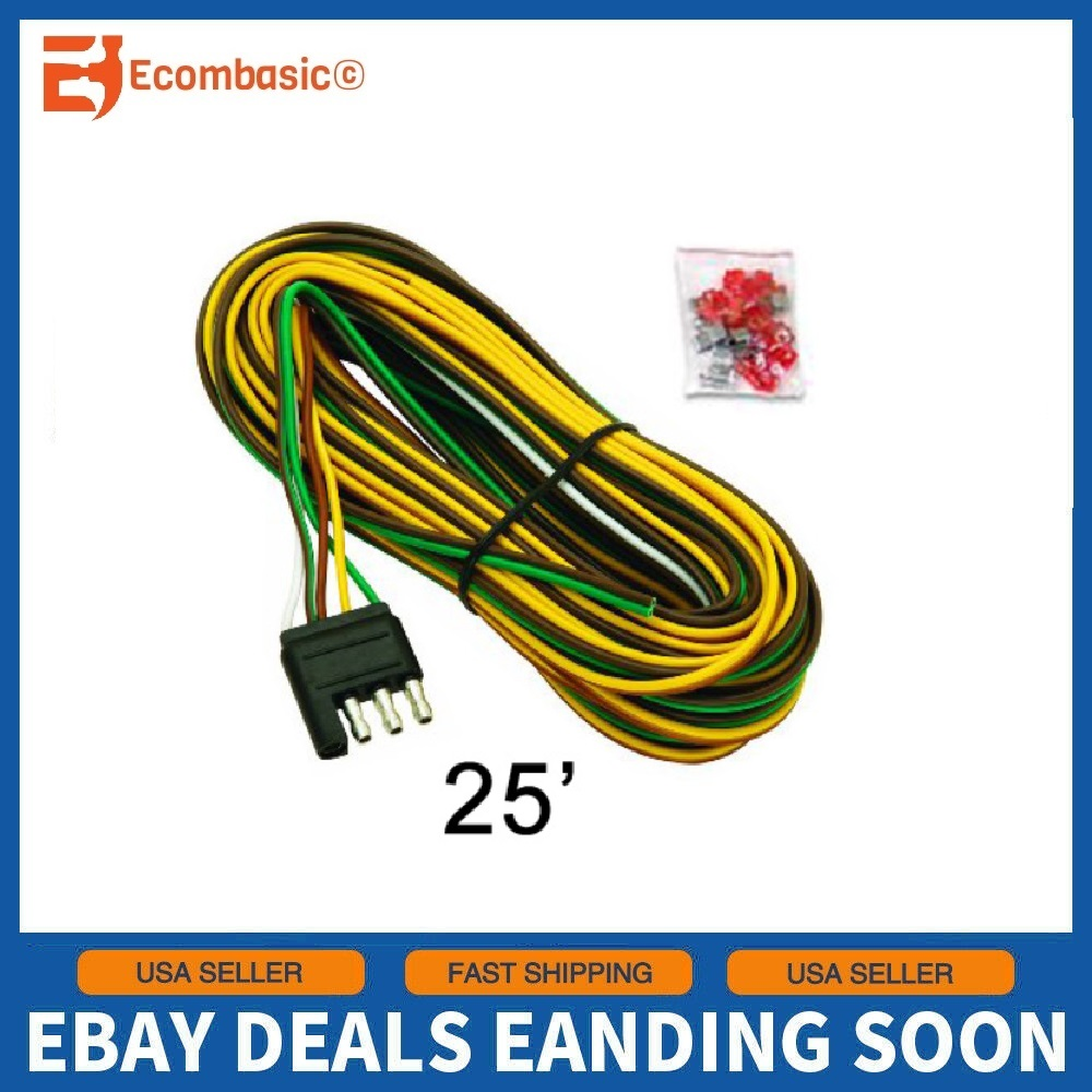 NEW 25ft. 5 Wire Flat Trailer Light Wiring Harness Extension 4-Pole  Connectors | eBayeBay
