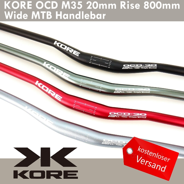 KORE OCD 20mm Rise Wide MTB Handlebar 31.8 x 760//780//800mm 7050-T6 Triple Butted