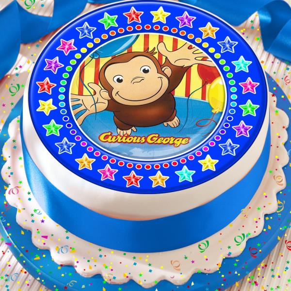 Magnificent Curious George Blue Star Border Precut Edible Birthday Cake Topper Funny Birthday Cards Online Sheoxdamsfinfo