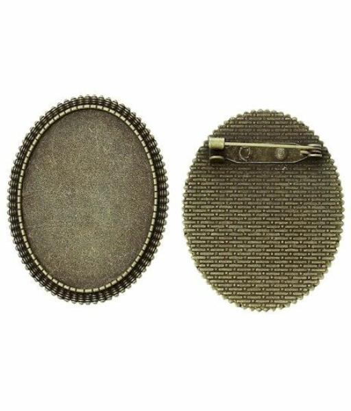 40x30mm Antique Silver HORIZONTAL Cameo Cabochon Setting with Pin Back 757x