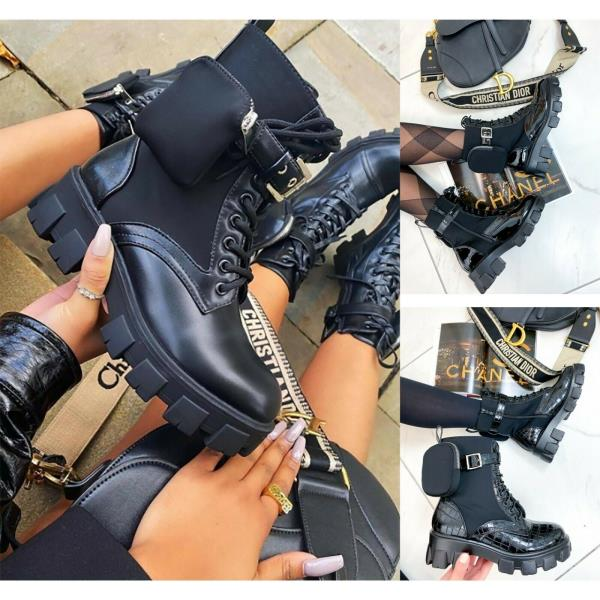 Womens Chunky Sole Pouch Ankle Boots Ladies Pocket Goth Punk Biker Shoes 36//43 D