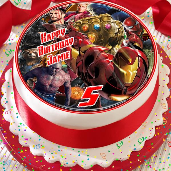 Magnificent Avengers Precut Edible Personalised Birthday Cake Topper Personalised Birthday Cards Cominlily Jamesorg