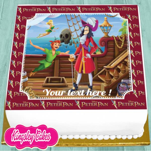 Admirable Captain Hook Personalised Birthday 7 5 Inch Precut Edible Cake Personalised Birthday Cards Arneslily Jamesorg