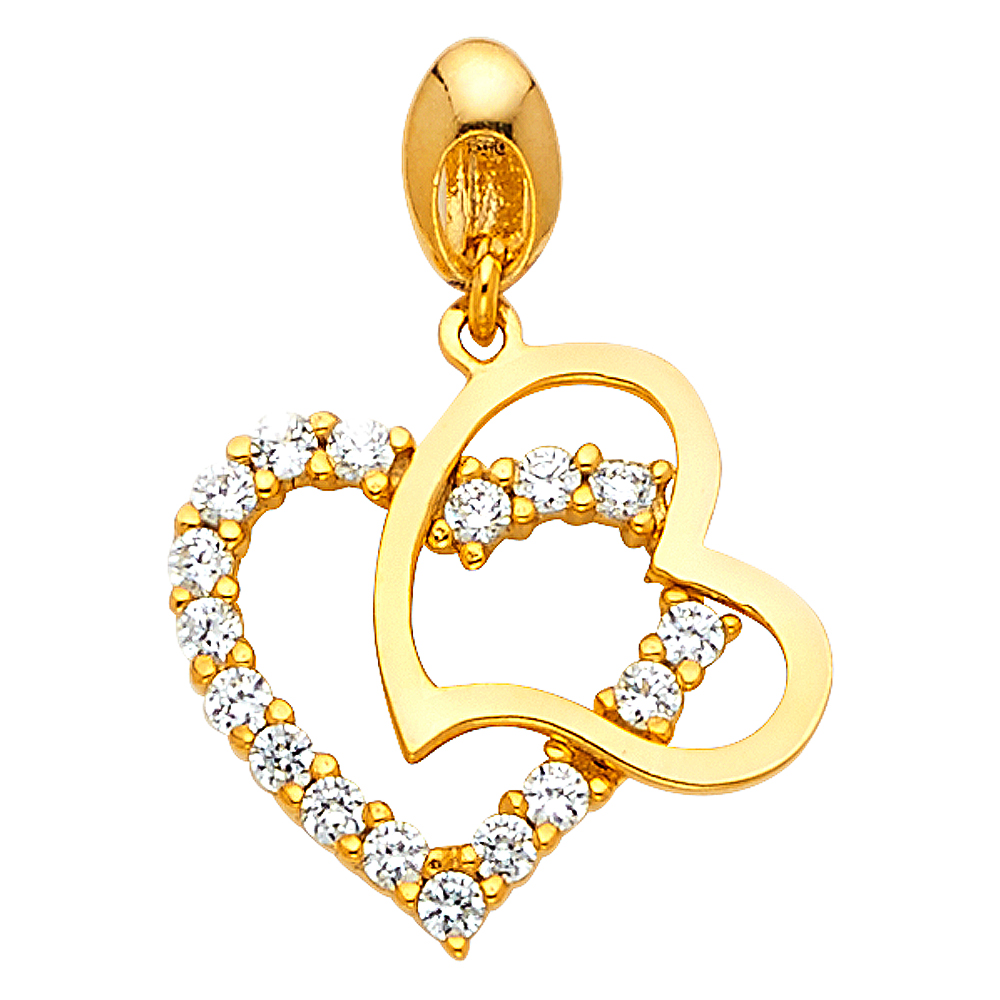 14k Yellow Gold CZ Double Heart Pendant Charm