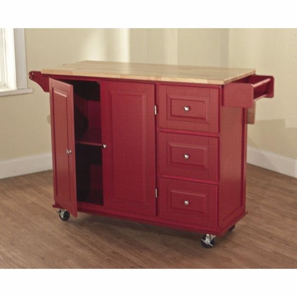 Red Wooden Kitchen Island Utility Cart Rolling Cabinet ...