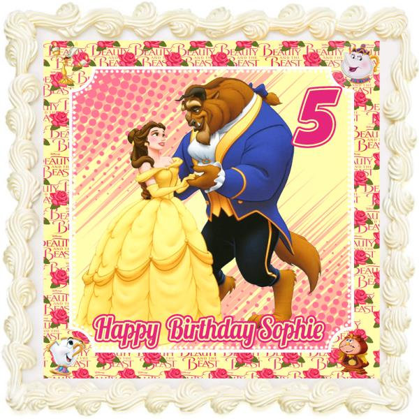 Excellent Beauty Beast Rectangle Square Personalised Icing Edible Costco Funny Birthday Cards Online Elaedamsfinfo