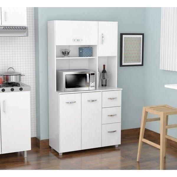 White Kitchen Cabinets Maintenance: White Kitchen Storage Microwave Cabinet Tall Cupboard Wood