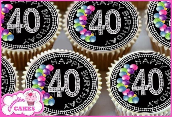 EDIBLE ICING SHEET 24 x BLACK /& 40TH BIRTHDAY BALLOONS CUPCAKE TOPPERS CAKE 8435