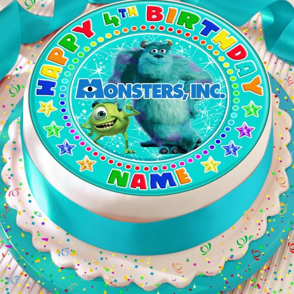 Superb Monsters Inc Birthday Personalised 7 5 Inch Precut Edible Cake Personalised Birthday Cards Veneteletsinfo