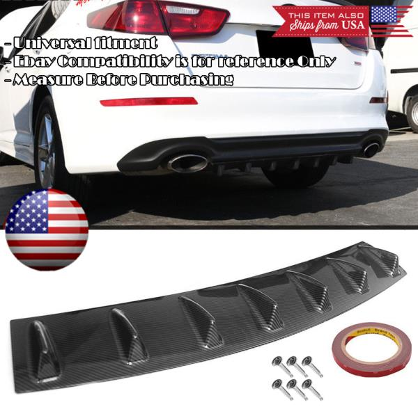 "23/"" x 6/"" ABS Gloss Black Rear Bumper Valance Diffuser 5 Fins For Honda Acura"