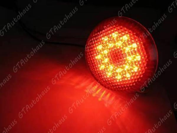 2x Round LED Red Lens Bumper Taillight Reflector Brake Lights For Toyota Scion