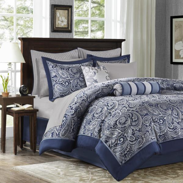 Queen Cal King Bed Bag Navy Blue Silver Paisley 12pc Comforter