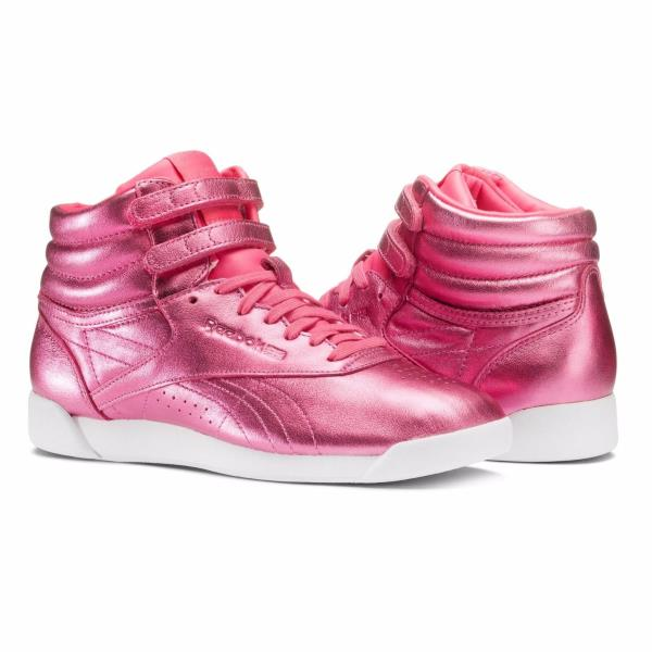 Details about [CN0960] Womens Reebok Classics Freestyle HI Metallic Sneaker Pink White