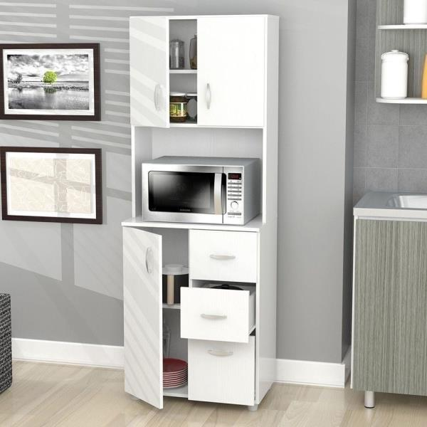 Details about NEW Tall Kitchen Microwave Cart White Utility Cabinet Storage  Shelves Cupboard