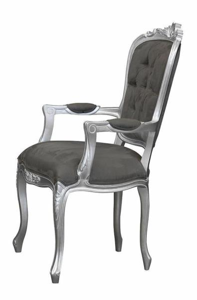 Silver with Brushed Grey Satin French Louis XV Elise Armchair