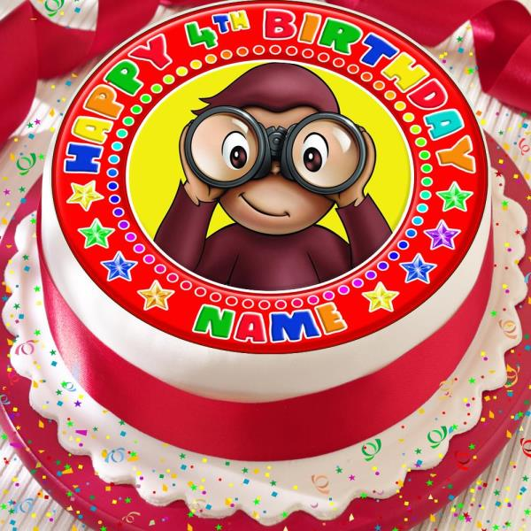 Curious George Edible Cake Decoration  from i.frog.ink