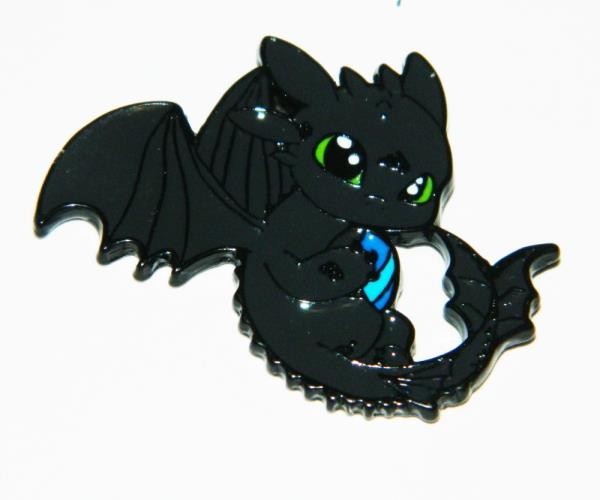 How To Train Your Dragon Light Fury and Toothless Die-Cut Metal Enamel Pin NEW