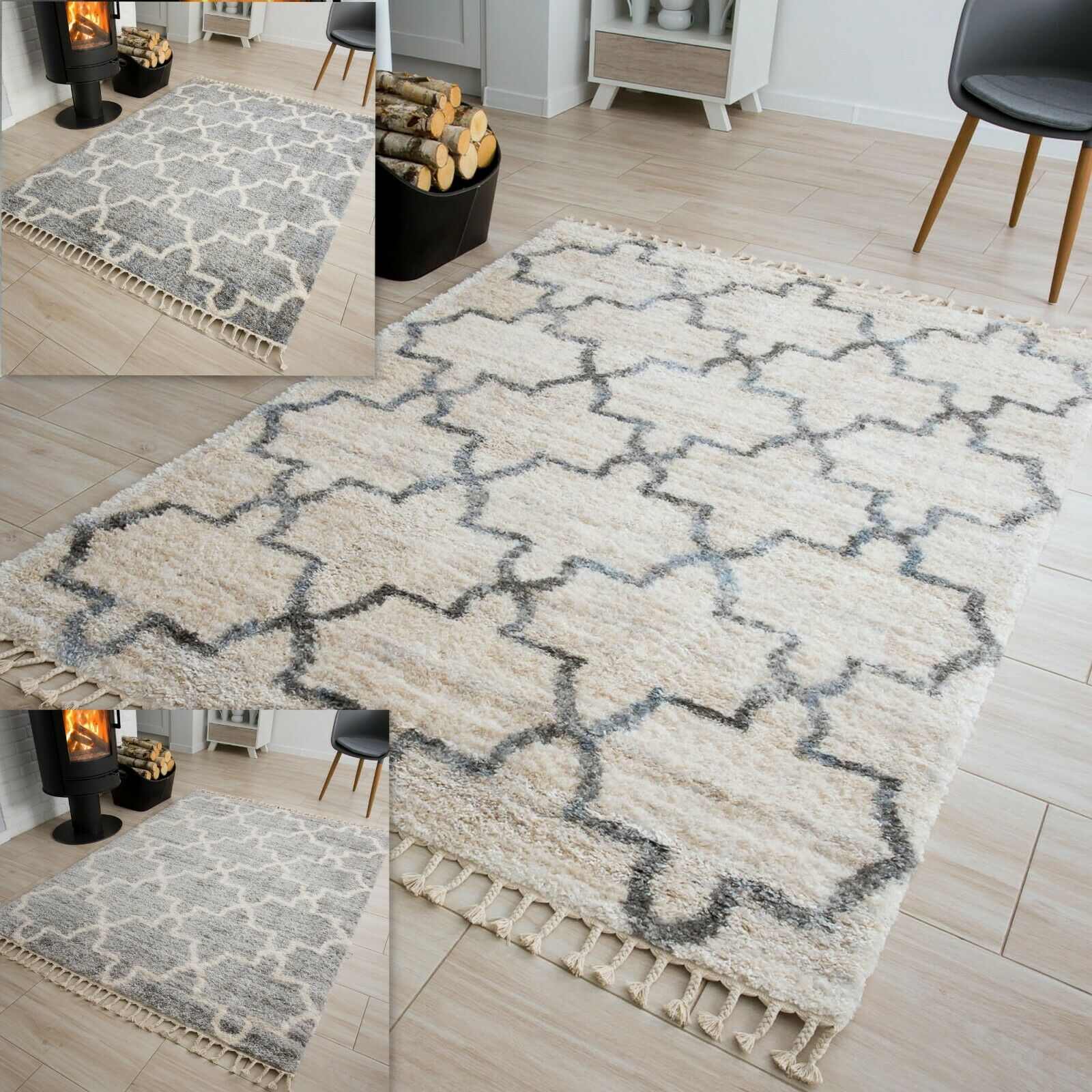 Modern Cream Grey Plush Rugs Moroccan Trellis Fringes Soft Shaggy Bedroom Rug Ebay