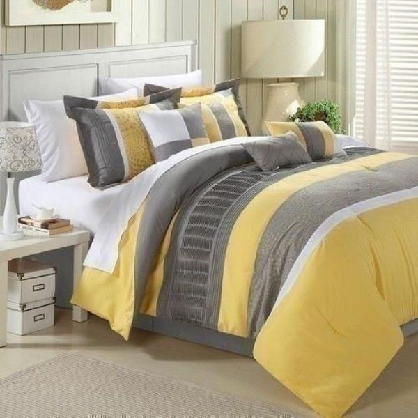Queen King Bed White Yellow Gray Grey, Yellow And Gray Bedding Queen
