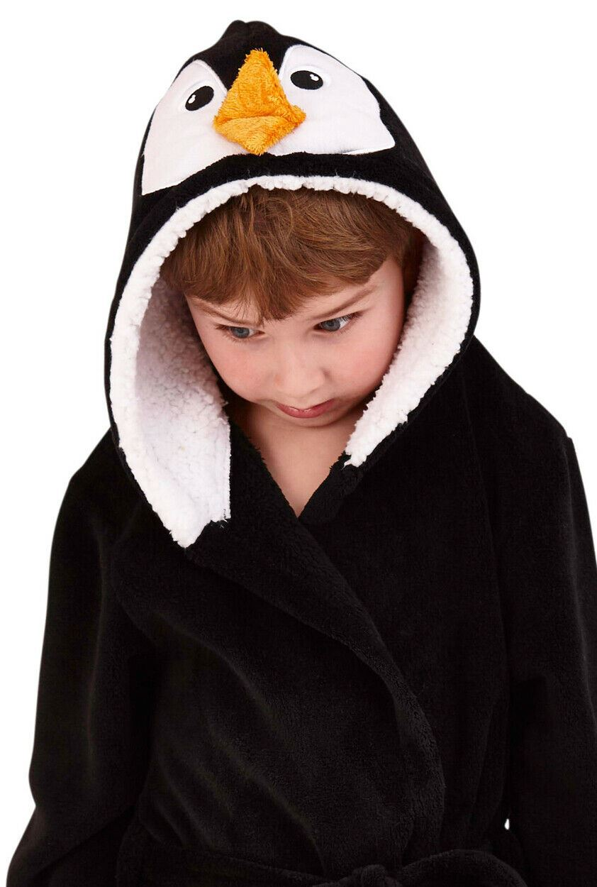 KIDS 3D HOODED PENGUIN BATH ROBE Christmas Winter Animal Dressing Gown Age 4-10