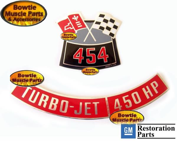 1970 70 CHEVELLE SS 454 450 HP ENGINE DECAL SET LS6