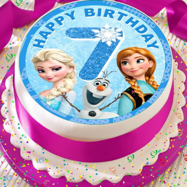 Astounding Frozen Elsa Anna Happy 7Th Birthday Precut Edible 7 5 Inch Cake Personalised Birthday Cards Epsylily Jamesorg