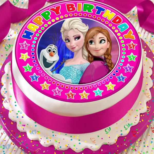 Tremendous Frozen Elsa Anna Olaf Precut Edible Happy Birthday Cake Topper Funny Birthday Cards Online Overcheapnameinfo