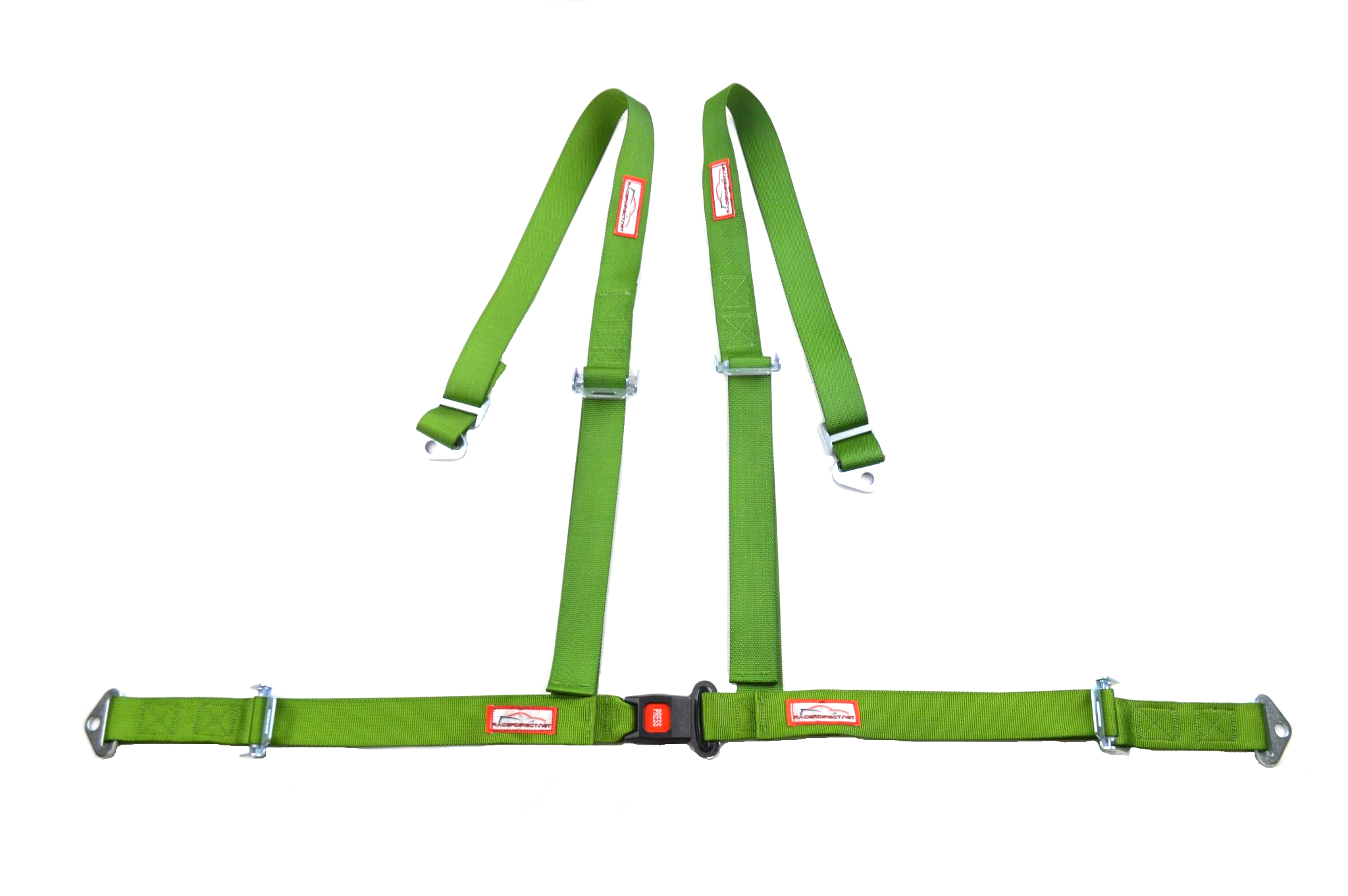 Racerdirect Four Point Racing Buggy Harness Push Button Buckle ROLL BAR Mount Harness Lime Green