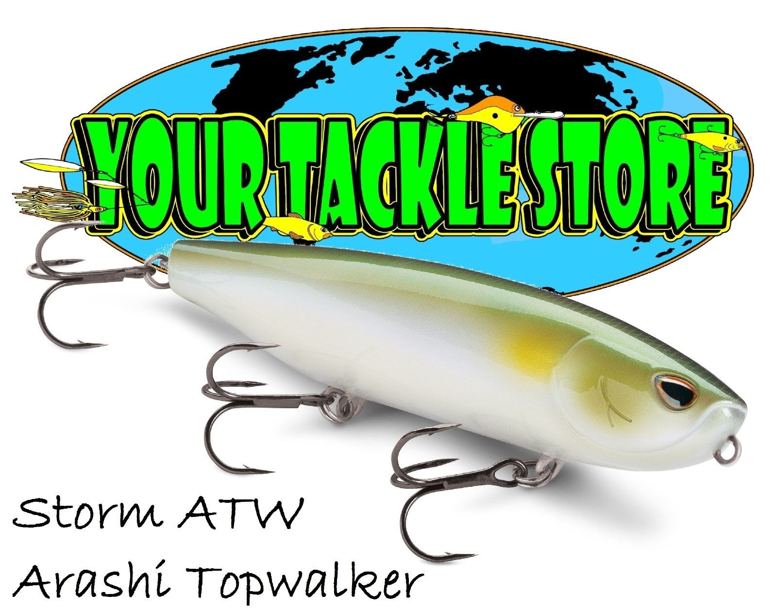 "storm arashi top walker11 surface bass lure 4 1//4/"" 3//4oz pro blue shad walk dog"