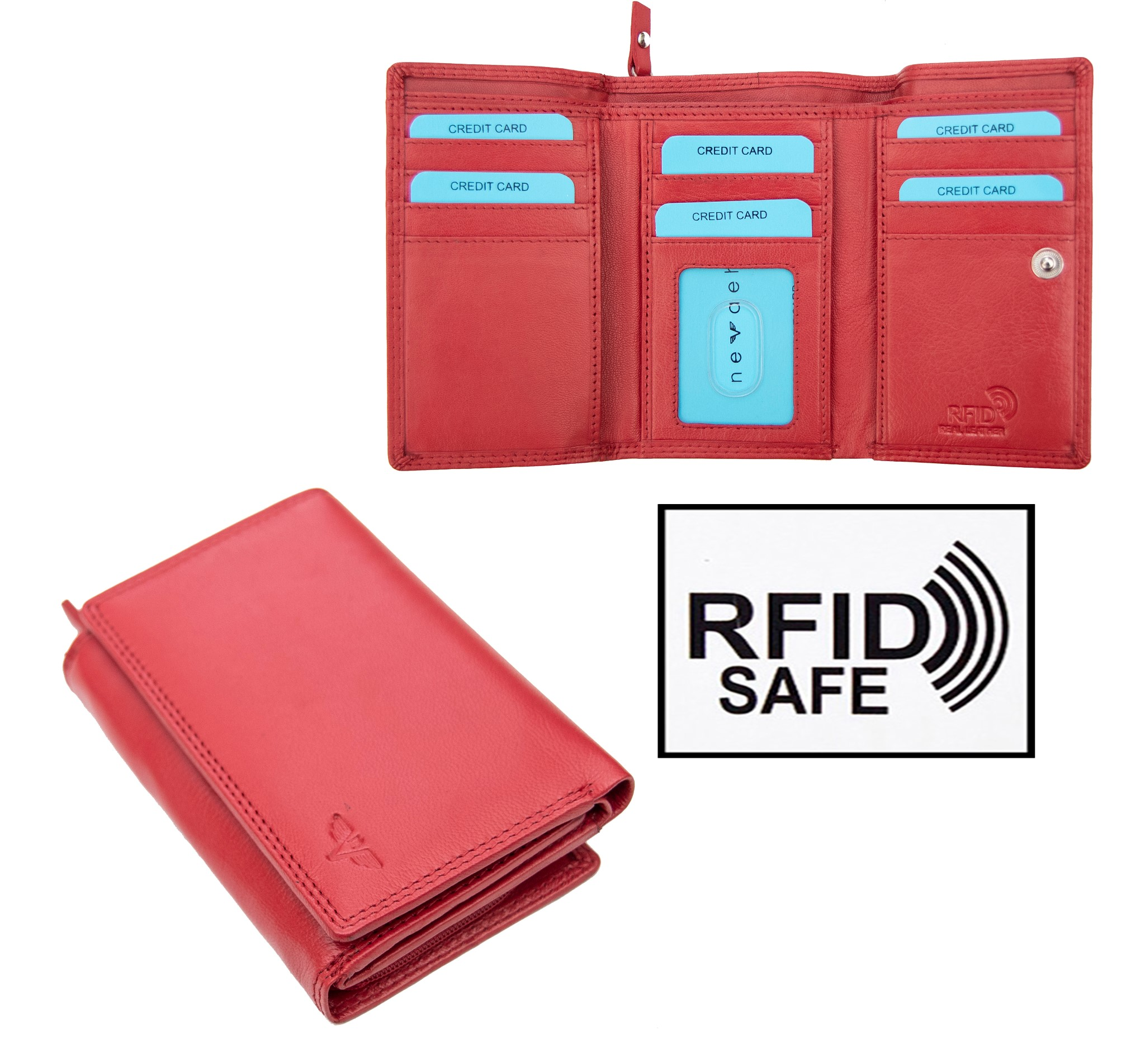 Nevaeh Heavenly Accessories Ladies Large Red Trifold leather Purse RFID Blocking