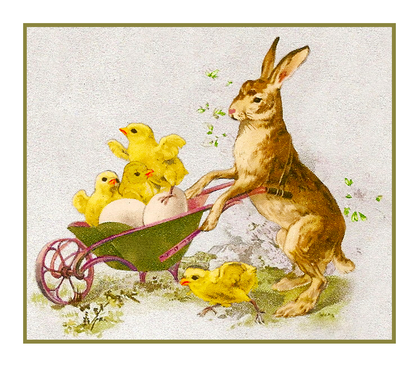 Victorian Easter Bunny Rabbit Egg Counted Cross Stitch Chart Pattern