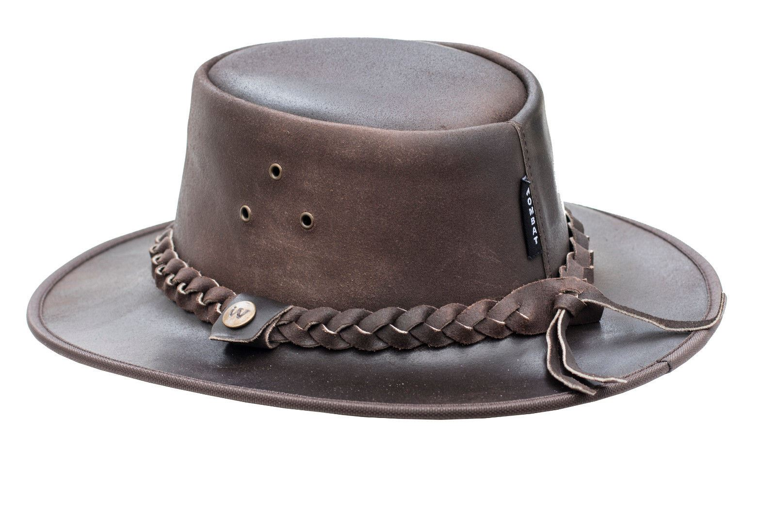 Lakeland Leather Colorado Mens Wide Brim Real Leather Outback Style Western Cowboy Hat in Brown
