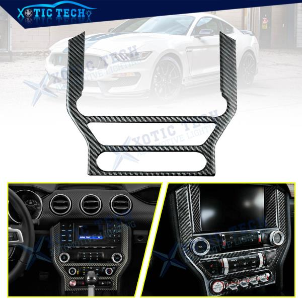 Carbon Fiber Interior CD Panel Decor Cover Trim Fit For Ford Mustang 2015-2019