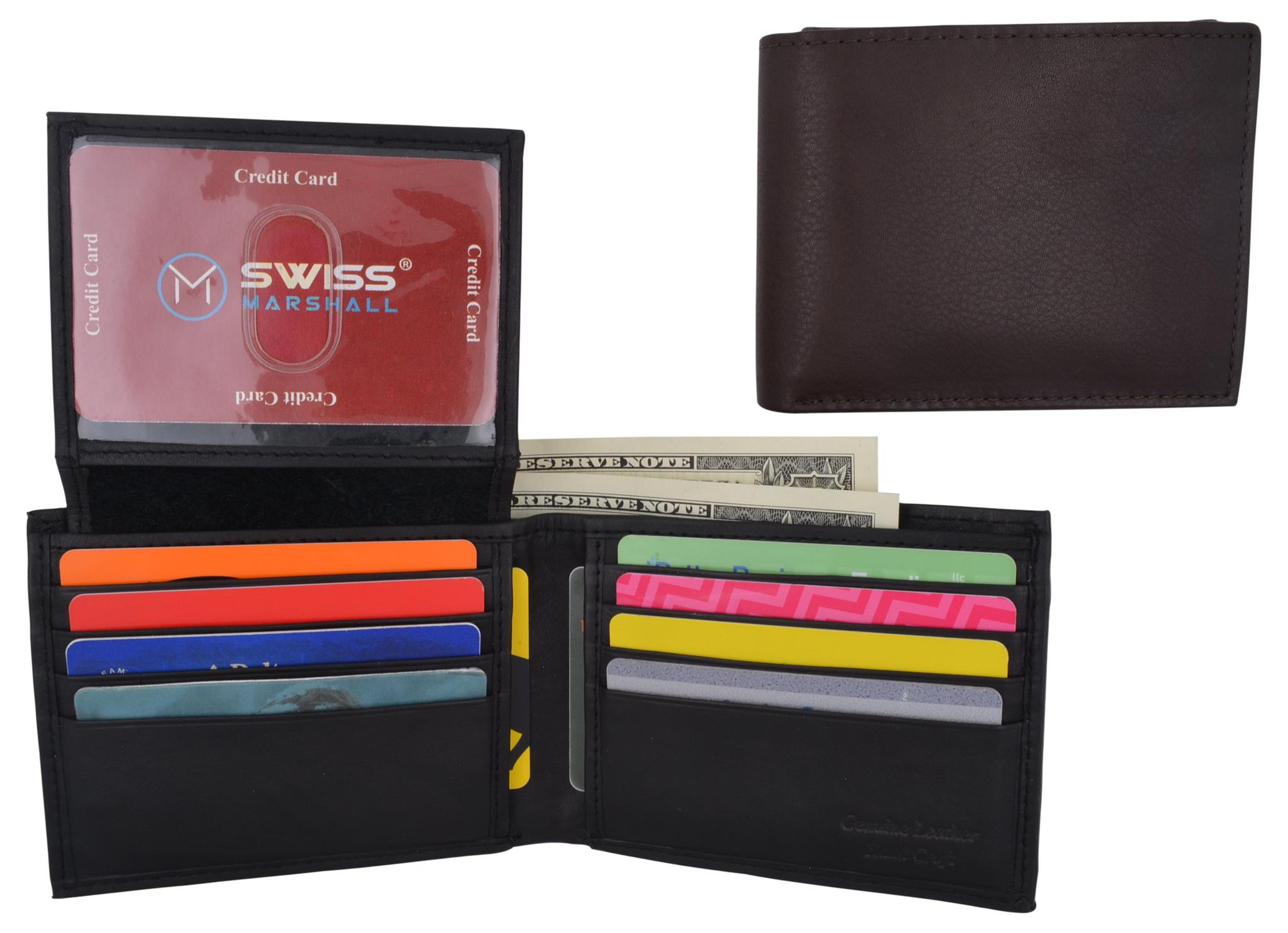 Premium Leather Bifold Wallet with Detachable Photo Holder Card Slots ID Window