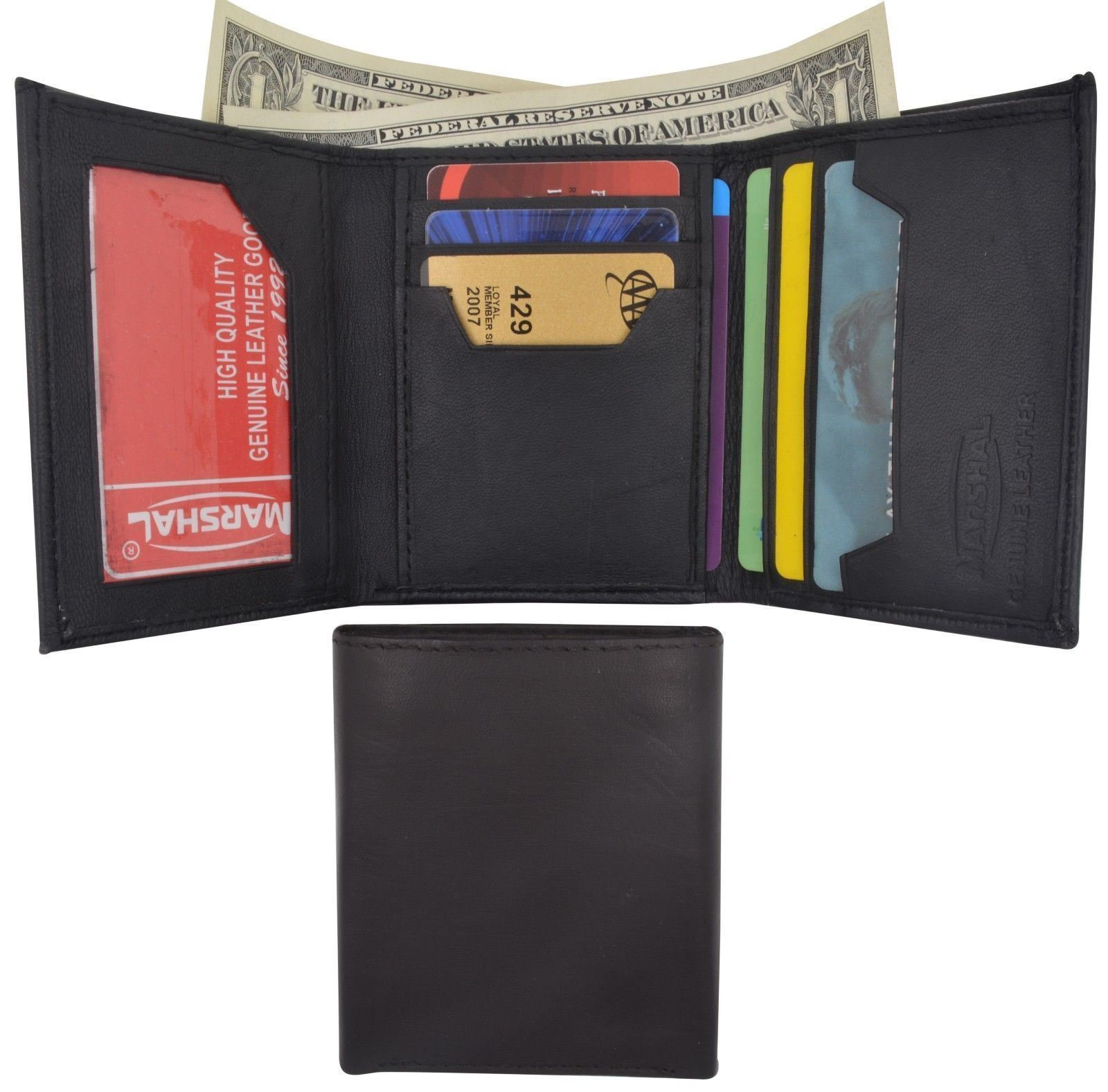 New Mens Bifold Lambskin Leather ID Wallet Black Holder Credit Card Pockets 772