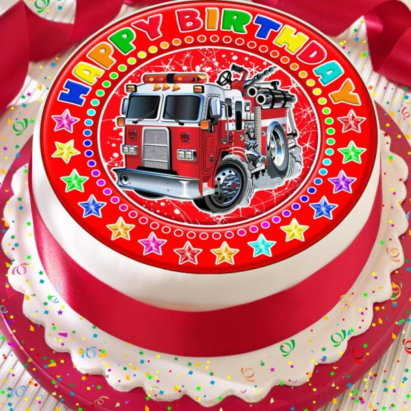 Tremendous Fire Truck Fire Engine Birthday 7 5 Inch Precut Edible Cake Topper Funny Birthday Cards Online Alyptdamsfinfo