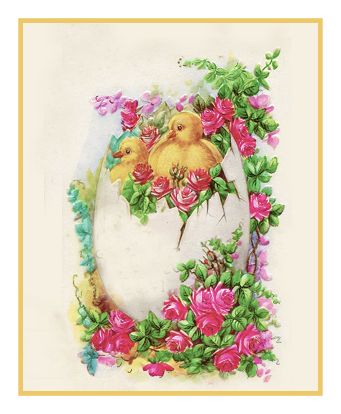 Vintage Easter Young Child Spring Flowers Chicks Counted Cross Stitch Pattern