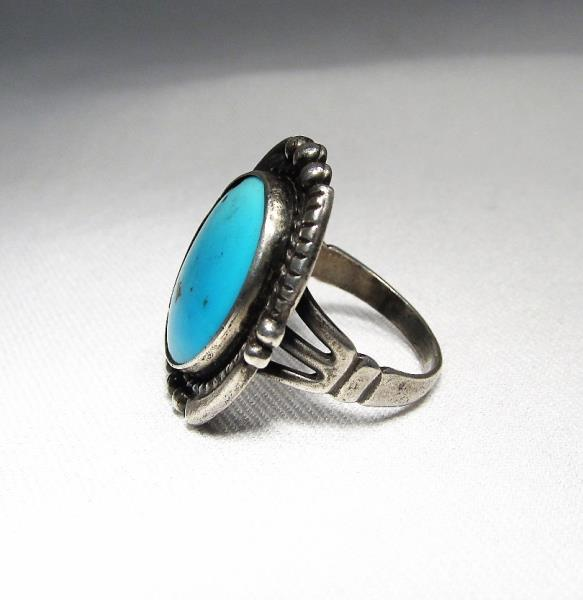 44.30 Cts Blue Flash Arizona Turquoise 925 Sterling Silver Ring Size 8