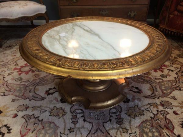 Round Pedestal Coffee Table With White Marble Top Gold Gilt Base