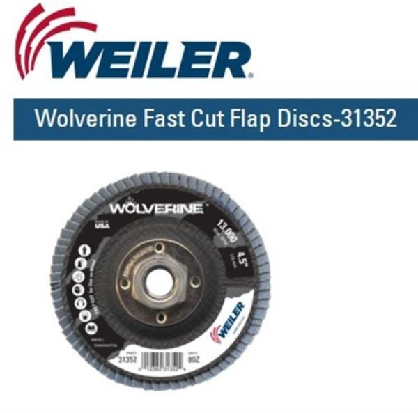 10//Each 31351 WEILER 4-1//2IN Wolverine Abrasive Flap DISC