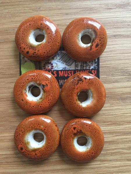 Various Colours Limited UK Stock 6 Statement Ceramic Donut Clay Pendant Beads
