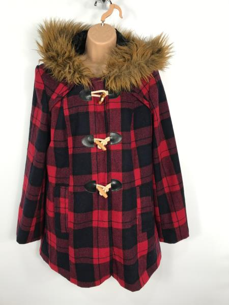 Red Check Duffle Coat Up To 64 Off, Red Check Winter Coat