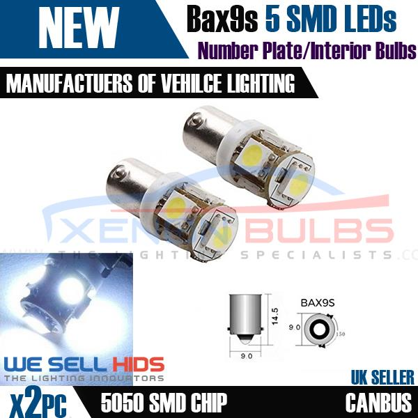 2x 5 SMD LED 433 434 BAX9S H6W OFFSET PINS CANBUS NO ERROR FREE SIDE LIGHT BULBS