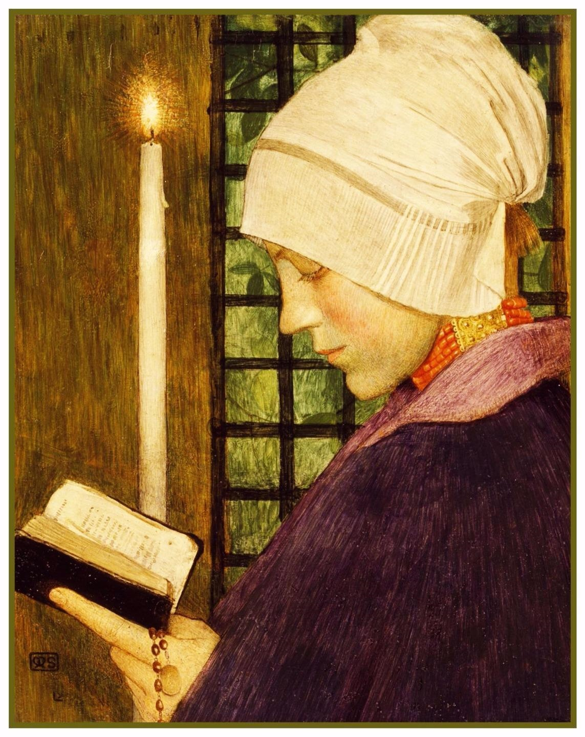A Woman on Candlemas Day by Marianne Stokes Counted Cross Stitch Pattern