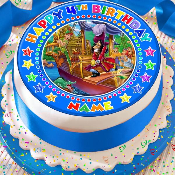 Remarkable Peter Pan And Captain Hook Personalised 7 5 Inch Precut Edible Personalised Birthday Cards Arneslily Jamesorg