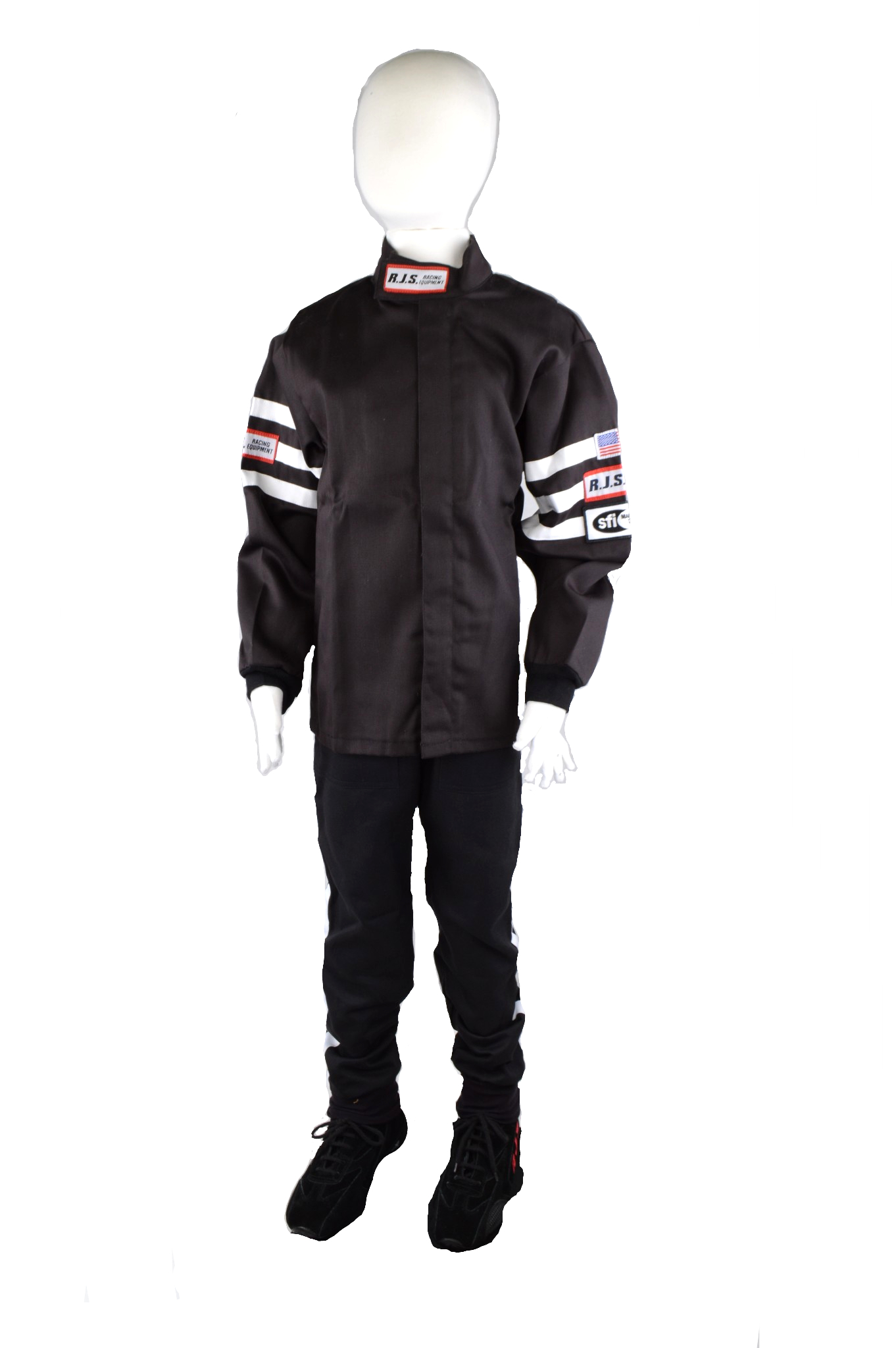 FIRE SUIT DRIVING JACKET BLACK /& WHITE STRIPES ADULT XL SFI 3-2A//1 RJS RACING