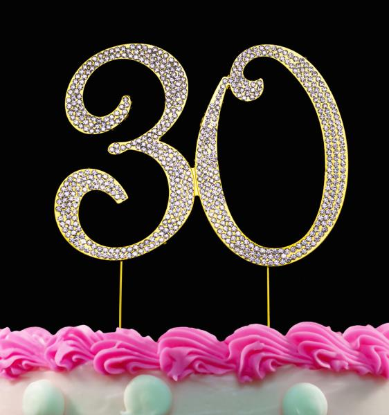 Tremendous 30Th Birthday Cake Toppers Gold Bling 30 Cake Topper Gold Birthday Funny Birthday Cards Online Elaedamsfinfo